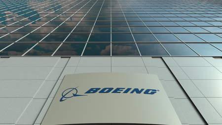 보잉 회사 로고가있는 간판. 현대 오피스 빌딩 외관입니다. Editorial 3D rendering 에디토리얼