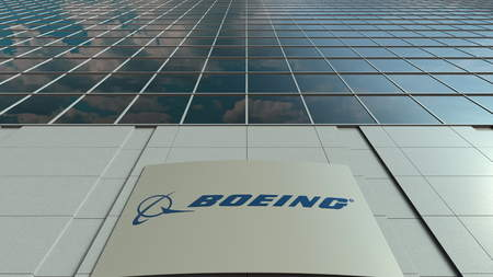 Signage board with Boeing Company logo. Modern office building facade. Editorial 3D rendering Redakční