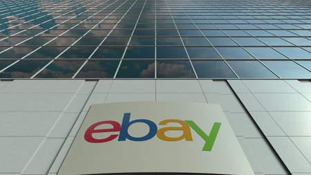 ebay: Signage board with eBay Inc. logo. Modern office building facade. Editorial 3D rendering