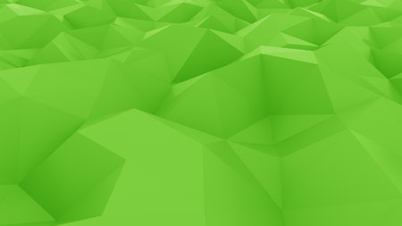 Abstract glossy polygonal green surface. 3D rendering background Stock Photo