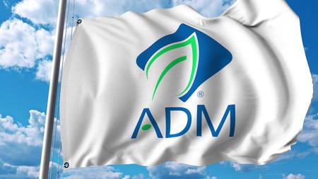 Waving flag with Archer Daniels Midland logo. Editoial 3D rendering