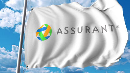 Waving flag with Assurant logo. Editoial 3D rendering