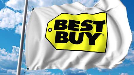 Waving flag with Best Buy logo. Editoial 3D rendering