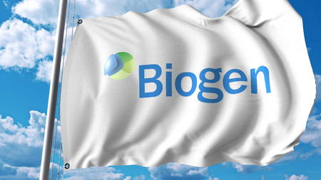 Waving flag with Biogen logo. Editoial 3D rendering