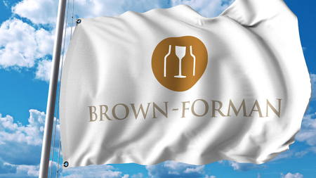 Waving flag with Brown-Forman logo. Editoial 3D rendering Editorial