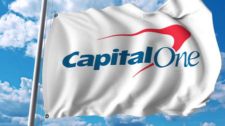 Waving flag with Capital One logo. Editoial 3D rendering