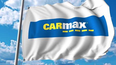 Waving flag with Carmax logo. Editoial 3D rendering