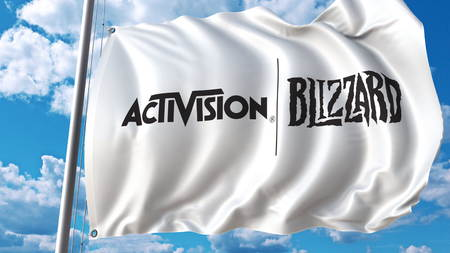 Waving flag with Activision Blizzard logo. Editoial 3D rendering Editorial