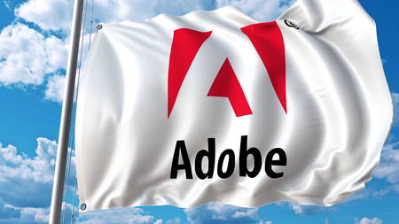 Waving flag with Adobe Systems logo. Editoial 3D rendering