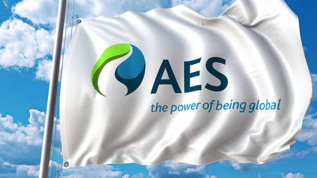 Waving flag with Aes Corporation logo. Editoial 3D rendering Editorial