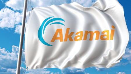 Waving flag with Akamai Technologies logo. Editoial 3D rendering Editorial