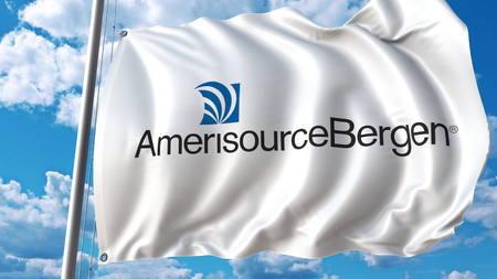 Waving flag with AmerisourceBergen logo. Editoial 3D rendering Editorial