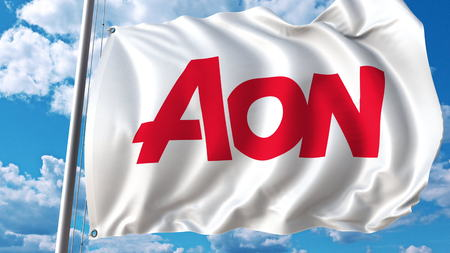 aon: Waving flag with Aon Plc logo. Editoial 3D rendering Editorial