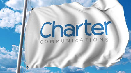 Waving flag with Charter Communications logo. Editoial 3D rendering
