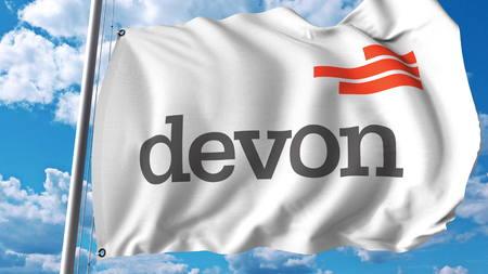 Waving flag with Devon Energy logo. Editoial 3D rendering