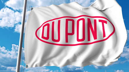 Waving flag with Dupont logo. Editoial 3D rendering