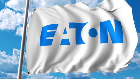 Waving flag with Eaton Corporation logo. Editoial 3D rendering