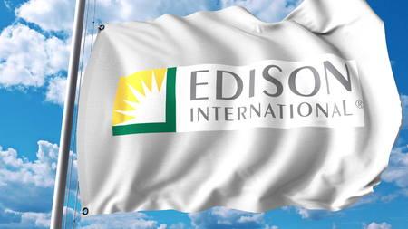 Waving flag with Edison International logo. Editoial 3D rendering