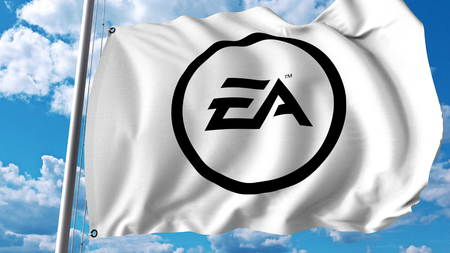 Waving flag with Electronic Arts logo. Editoial 3D rendering Editorial