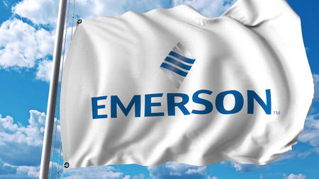 Waving flag with Emerson Electric logo. Editoial 3D rendering