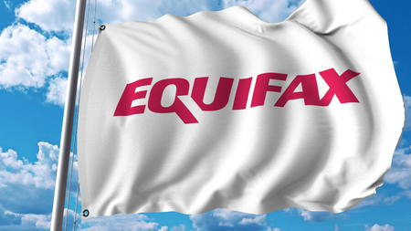Waving flag with Equifax logo. Editoial 3D rendering