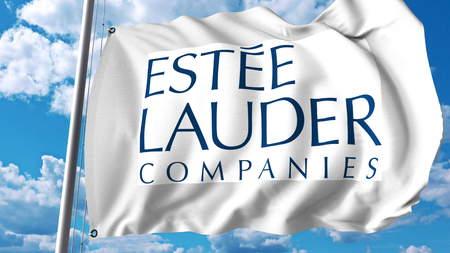 Waving flag with Estee Lauder Companies logo. Editoial 3D rendering