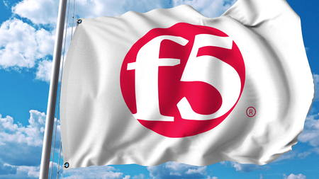 Waving flag with F5 Networks logo. Editoial 3D rendering Editorial