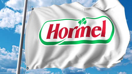 Waving flag with Hormel logo. Editoial 3D rendering