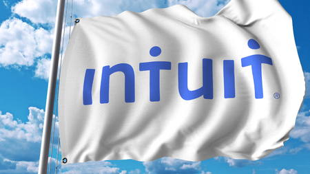 Waving flag with Intuit logo. Editoial 3D rendering Editorial