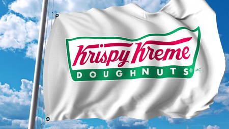 Waving flag with Krispy Kreme logo. Editoial 3D rendering