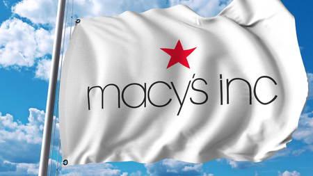 Macys Inc 로고와 깃발을 흔들며. 편집 용 3D 렌더링 에디토리얼