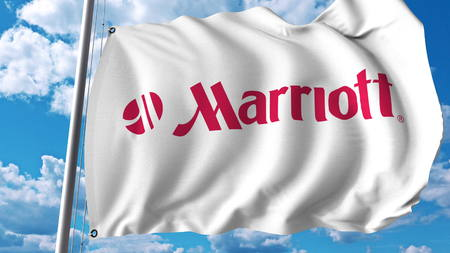 Waving flag with Marriott International logo. Editoial 3D rendering