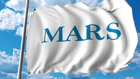 Waving flag with Mars Incorporated logo. Editoial 3D rendering