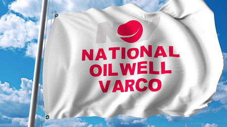 Waving flag with National Oilwell Varco logo. Editoial 3D rendering