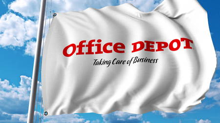 Waving flag with Office Depot logo. Editoial 3D rendering Editorial