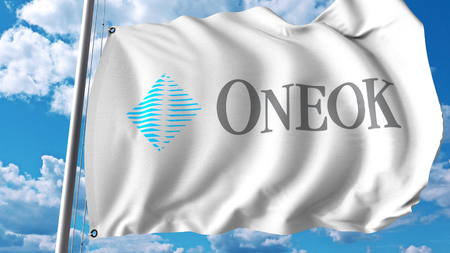 Waving flag with ONEOK logo. Editoial 3D rendering