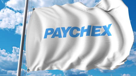 Waving flag with Paychex logo. Editoial 3D rendering