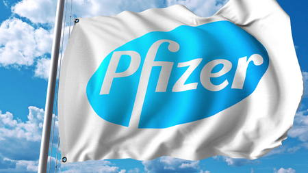 Waving flag with Pfizer logo. Editoial 3D rendering