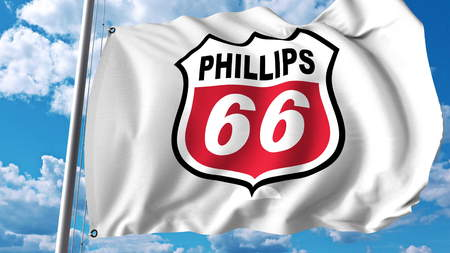 Waving flag with Phillips 66 logo. Editoial 3D rendering