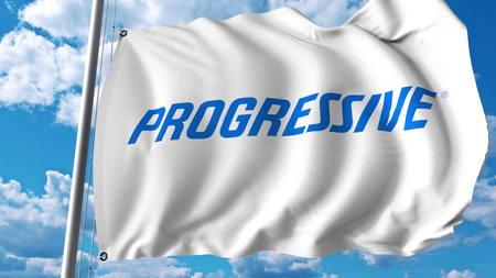Waving flag with Progressive Corporation logo. Editoial 3D rendering