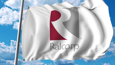 Waving flag with Ralcorp logo. Editoial 3D rendering