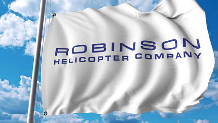 Waving flag with Robinson Helicopter Company logo. Editoial 3D rendering