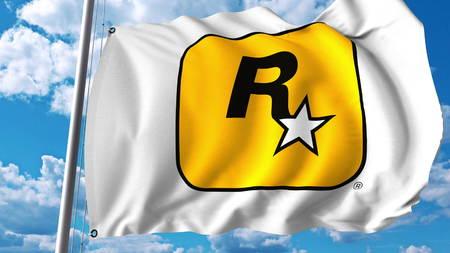 Waving flag with Rockstar Games logo. Editoial 3D rendering Editorial