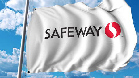 Waving flag with Safeway Inc logo. Editoial 3D rendering