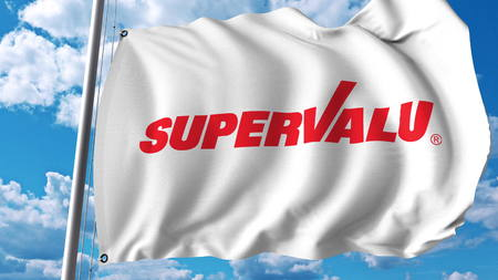 Waving flag with Supervalu logo. Editoial 3D rendering