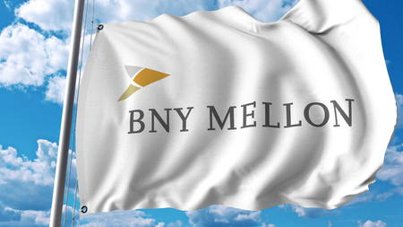 Waving flag with The Bank Of New York Mellon logo. Editoial 3D rendering Editorial
