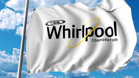 Waving flag with Whirlpool Corporation logo. Editoial 3D rendering 新聞圖片
