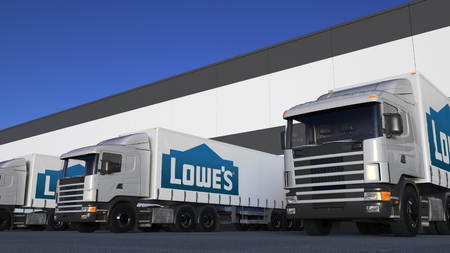 Freight semi trucks with Lowes logo loading or unloading at warehouse dock. Editorial 3D rendering Editorial