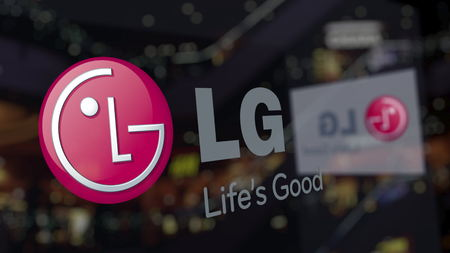 LG Corporation logo on the glass against blurred business center. Editorial 3D rendering
