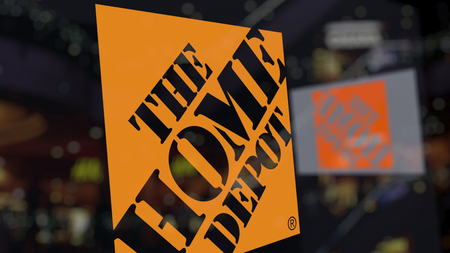 The Home Depot logo on the glass against blurred business center. Editorial 3D rendering